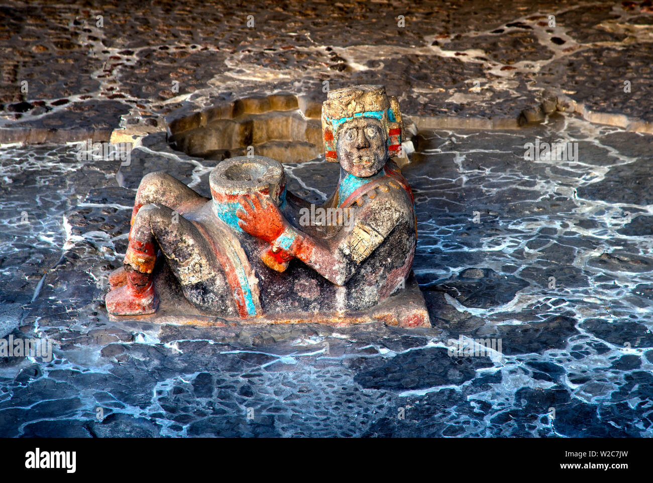 Mexico, Mexico City, Aztec Chacmool, Sculpture, Templo Mayor, Great Temple, Tenochtitlan, Centro Historico Stock Photo
