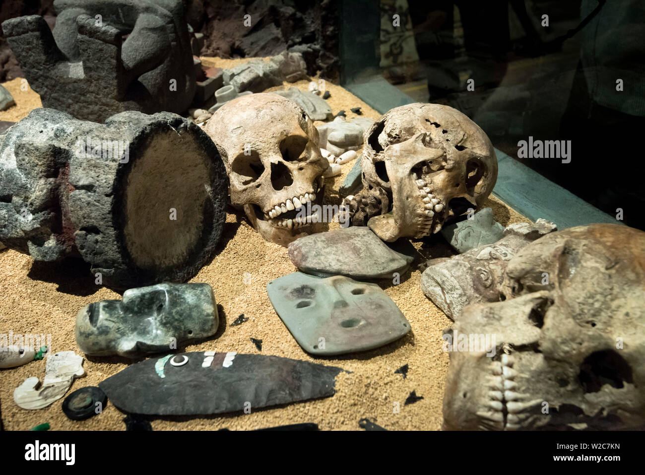Mexico, Mexico City, Aztec, Templo Mayor Museum, Sacraficial Offerings Stock Photo