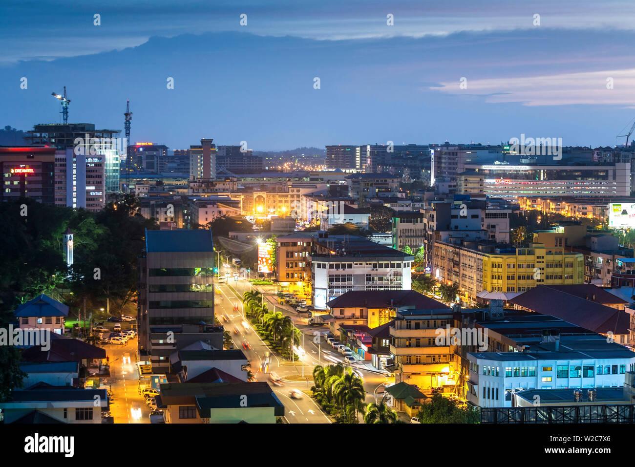 View over Kota Kinabalu at dusk, Sabah, Borneo, Malaysia - Stock Image