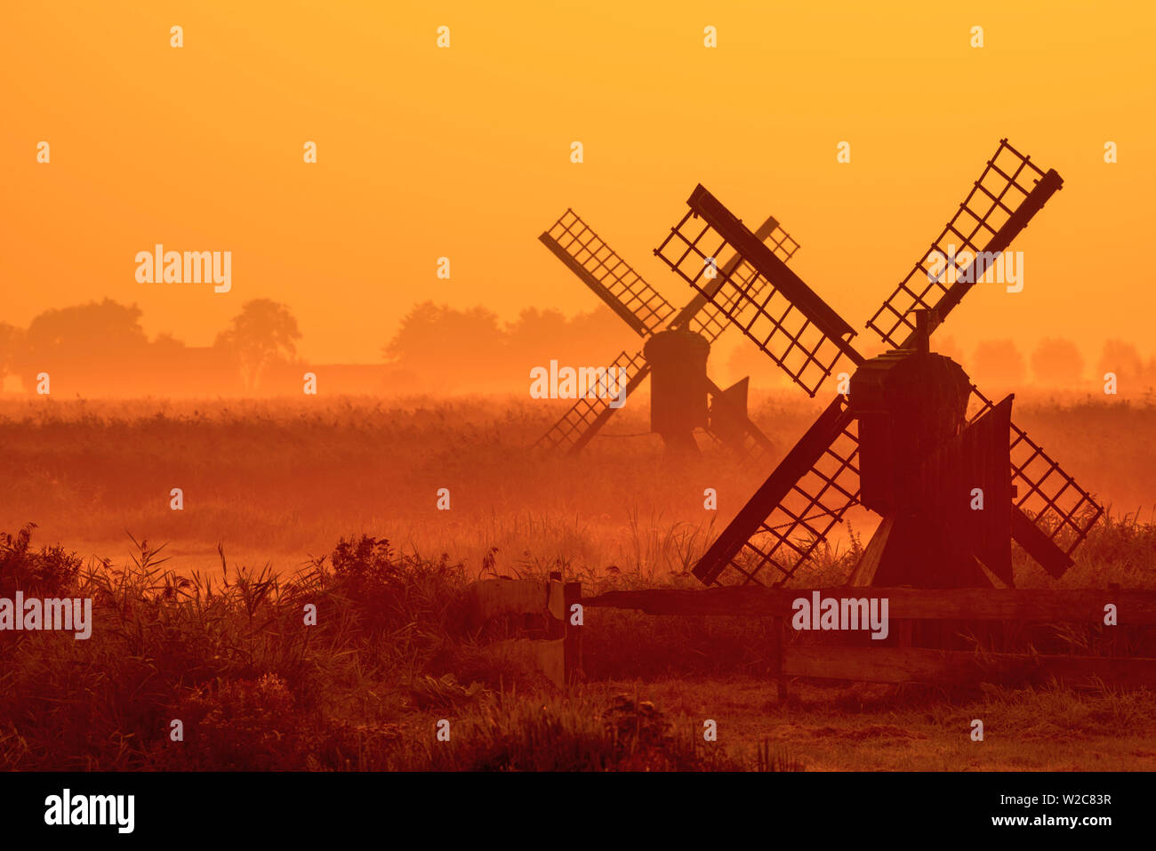 Netherlands, North Holland, Zaandam, Zaanse Schans, Small agricultural windpumps Stock Photo