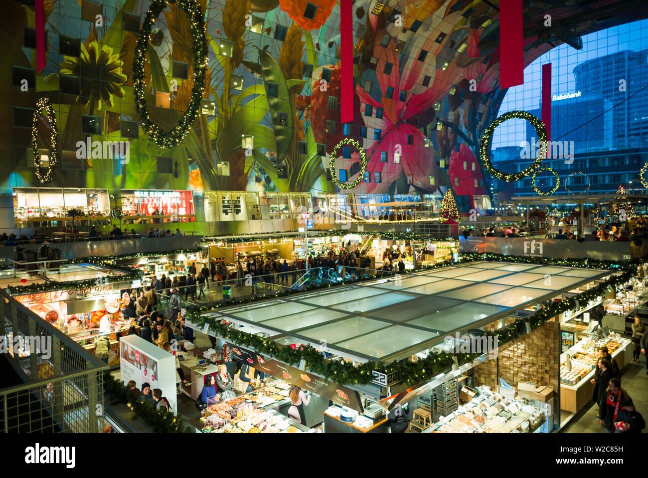 Netherlands, Rotterdam, Markthal foodhall, elevated interior view Stock Photo