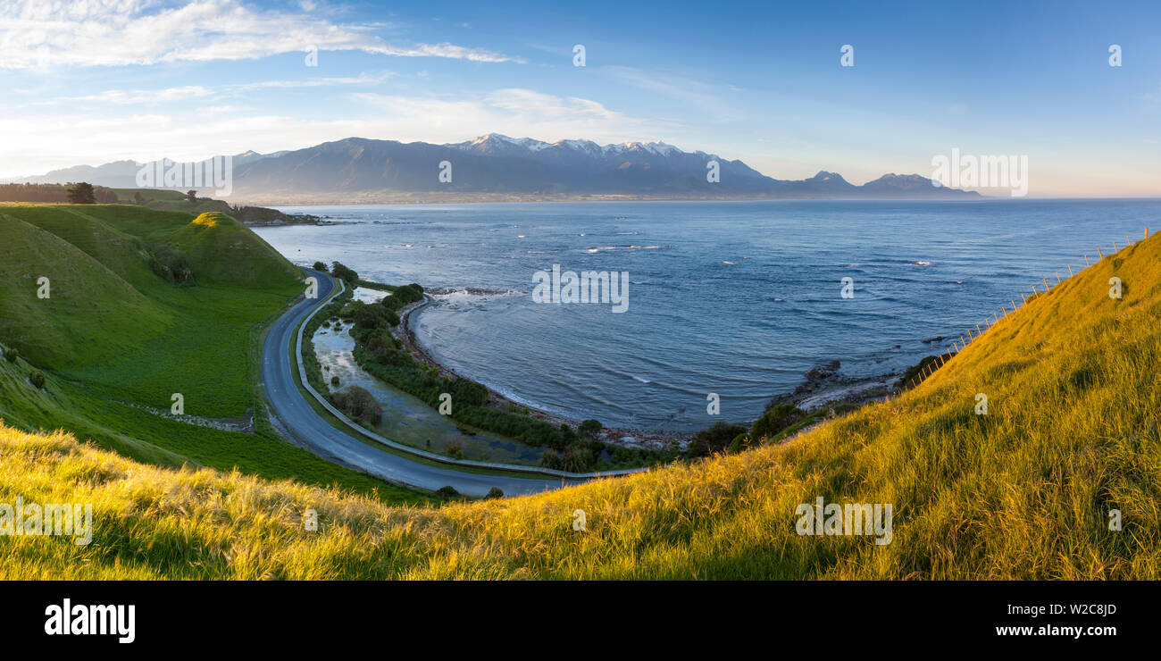Elevated view over dramatic landscape, Kaikoura, South Island, New Zealand - Stock Image