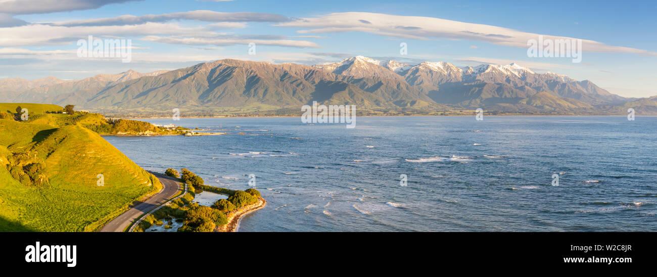 Elevated view over dramatic coastal landscape, Kaikoura, South Island, New Zealand - Stock Image