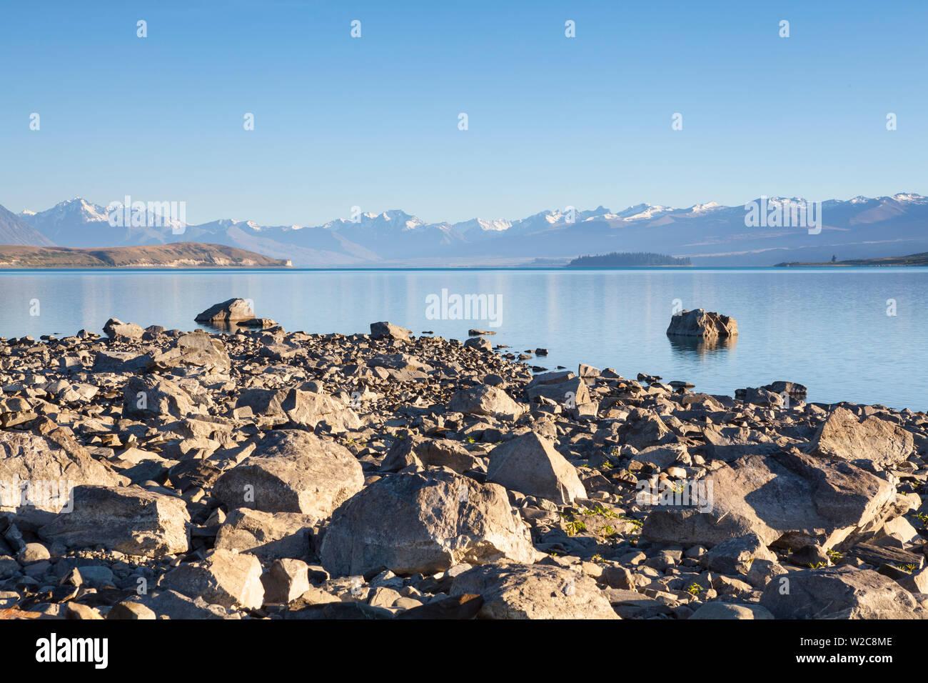 Lake Tekapo, Mackenzie Country, Canterbury, South Island, New Zealand Stock Photo