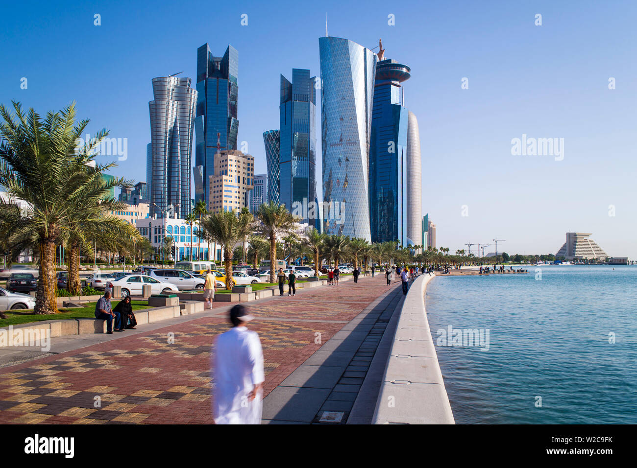 Qatar, Doha, new skyline of the West Bay central financial district of Doha Stock Photo