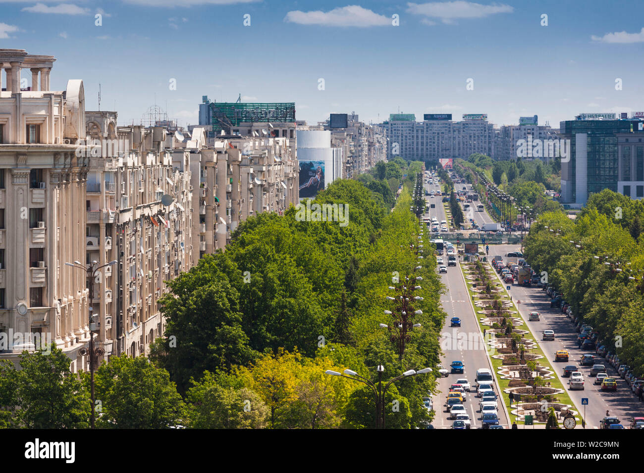 Romania, Bucharest, Palace of Parliament, world's second-largest building, view of Unirii Boulevard Stock Photo