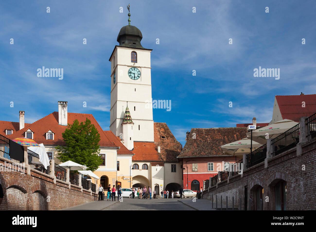 Romania, Transylvania, Sibiu, Piata Mica Square and Council Tower Stock Photo