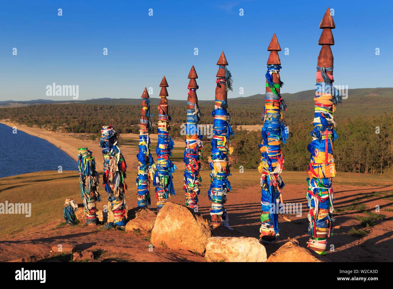 Totem poles, Olkhon island, landscape near Khuzhir, Baikal lake, Russia - Stock Image