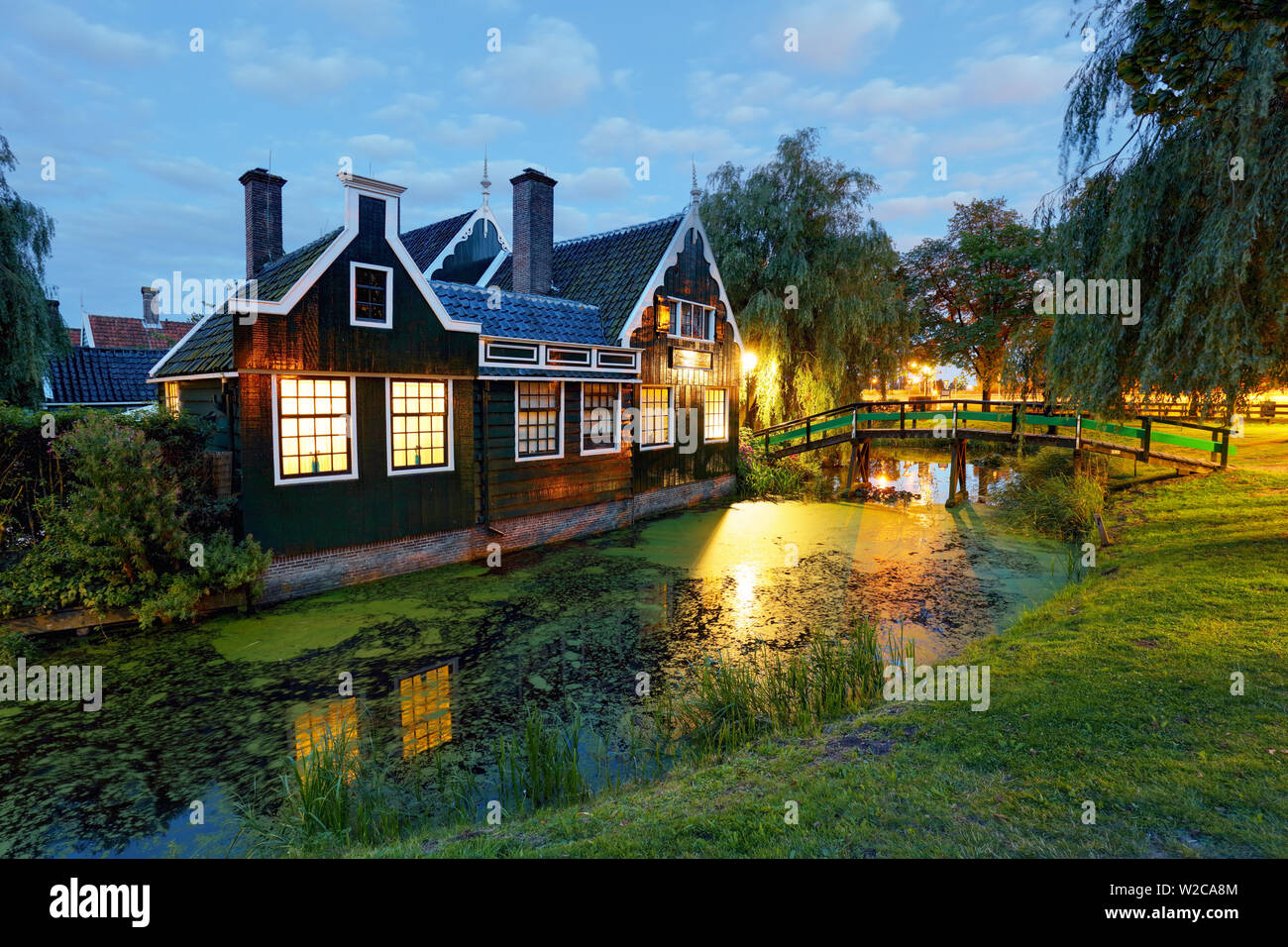 Traditional house at the historic village of Zaanse Schans, Netherlands Stock Photo