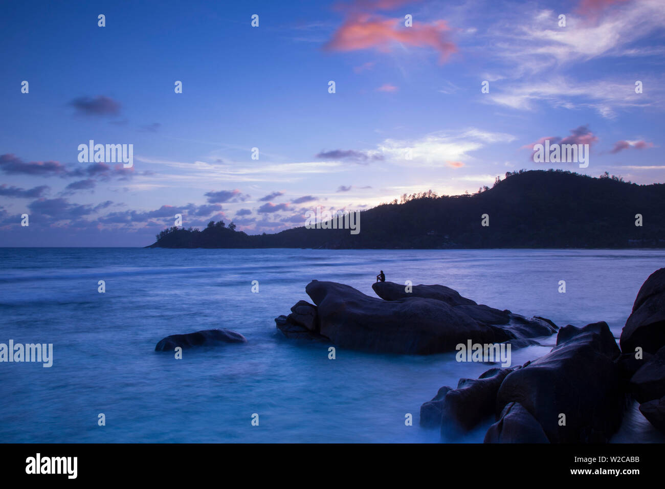 Tropical beach, southern Mahe, Seychelles - Stock Image