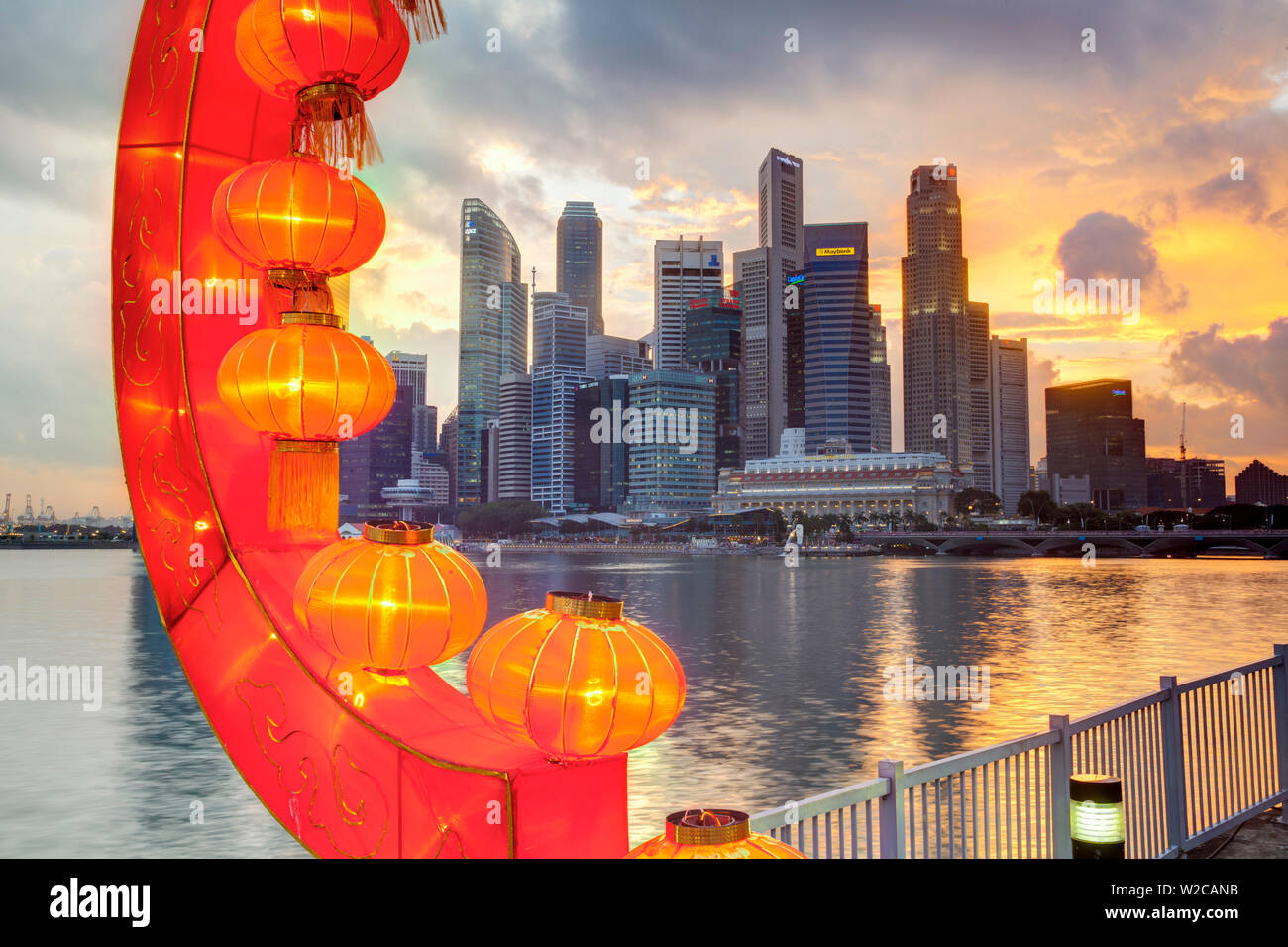 City Financial Skyline, River Hongbao decorations for Chinese New Year celebrations at Marina Bay, Singapore, South East Asia Stock Photo