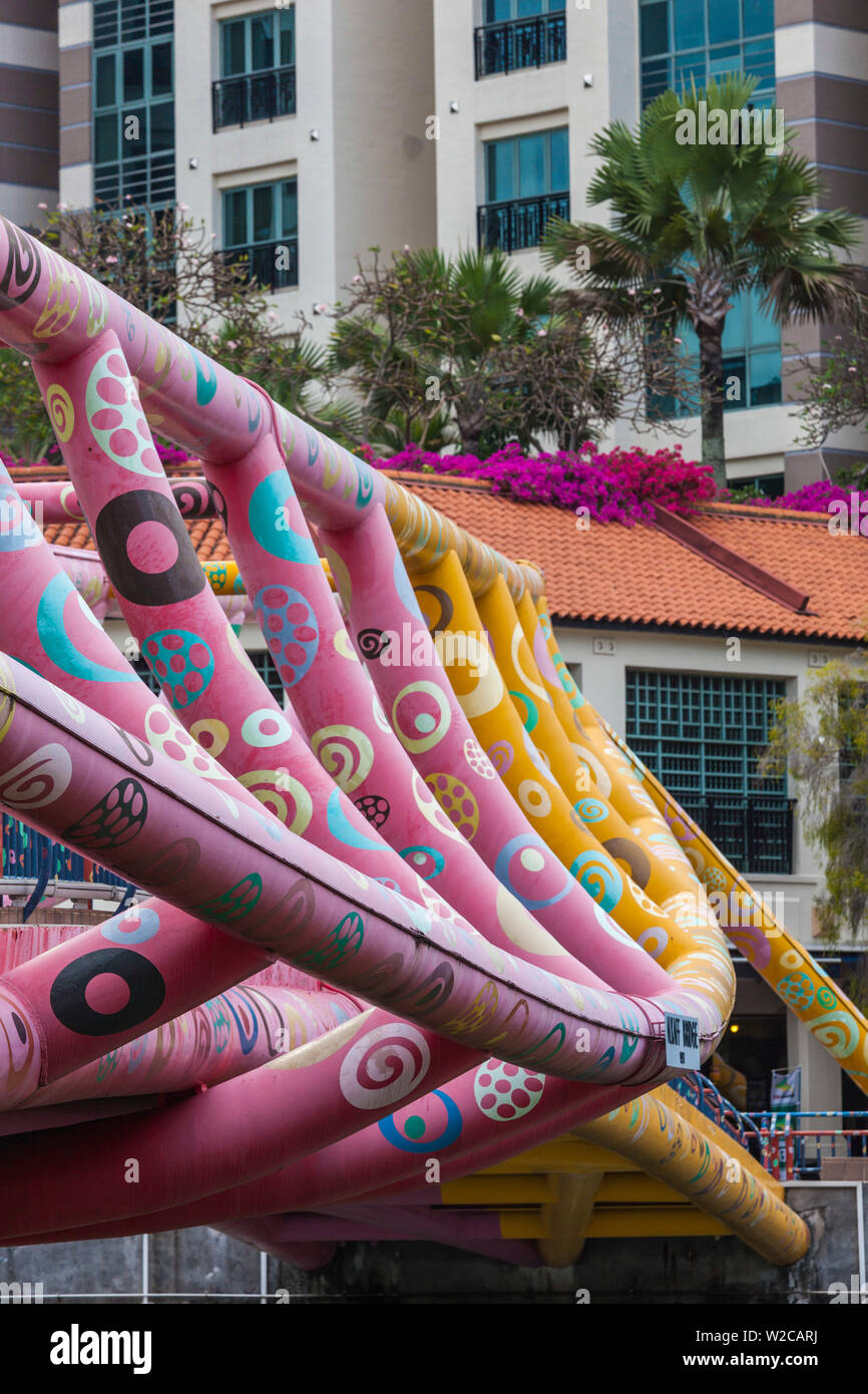 Singapore, Alkaff Bridge, Singapore's Art Bridge - Stock Image