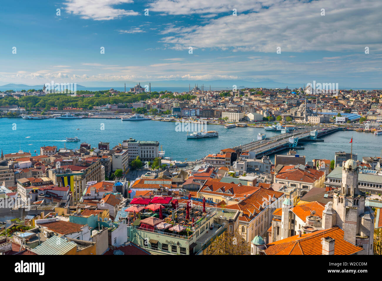 Turkey, Istanbul, Beyoglu, View across Golden Horn to Sultanahmet - Stock Image