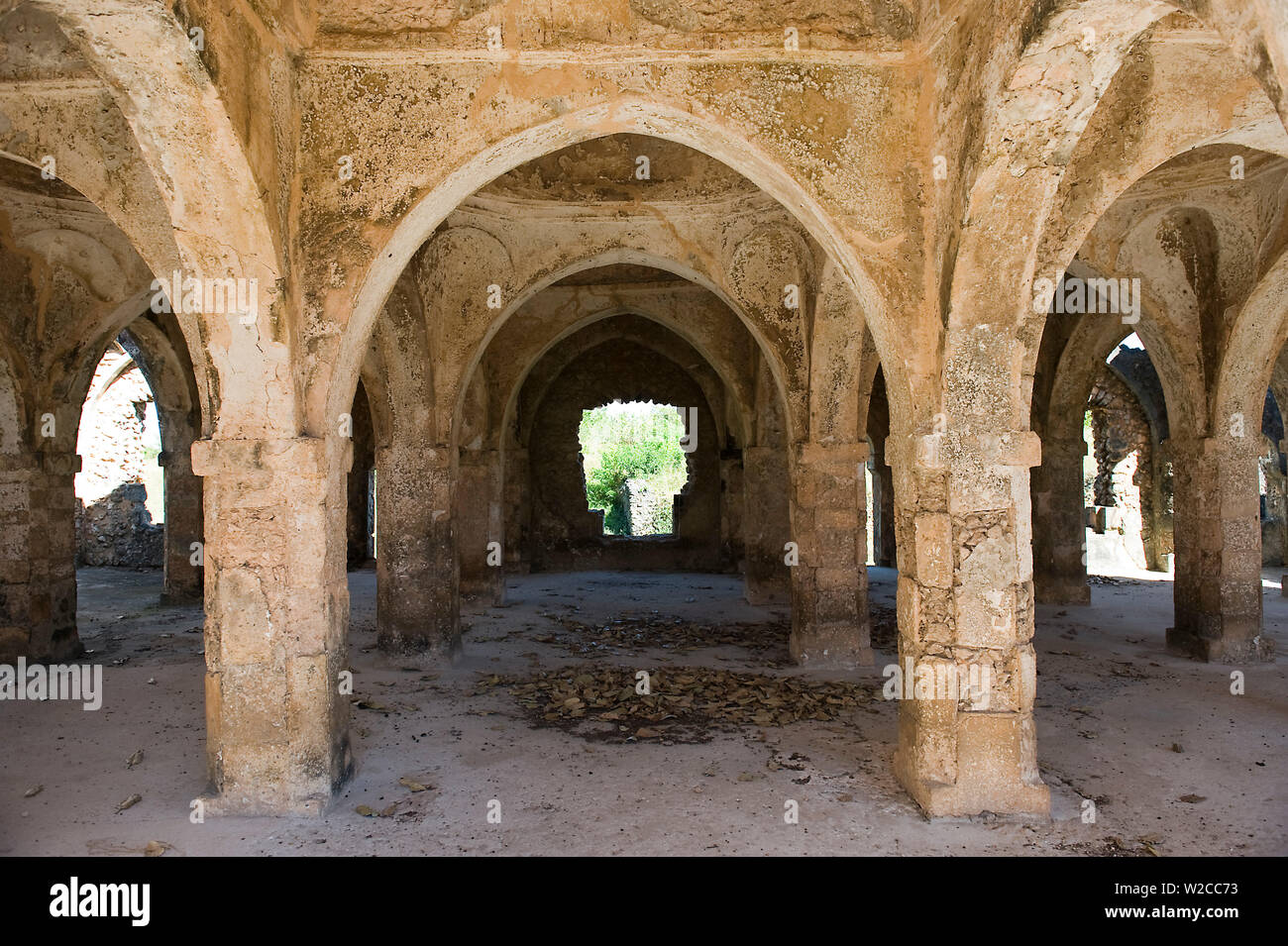 The Prayer Hall of the Great Mosque on Kilwa Kisiwani, built circa 10th Century, coast of Tanzania, oldest mosque on East African Coast. - Stock Image