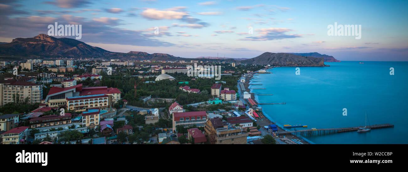 Ukraine, Crimea, Sudak View of city and Black Sea coast Stock Photo