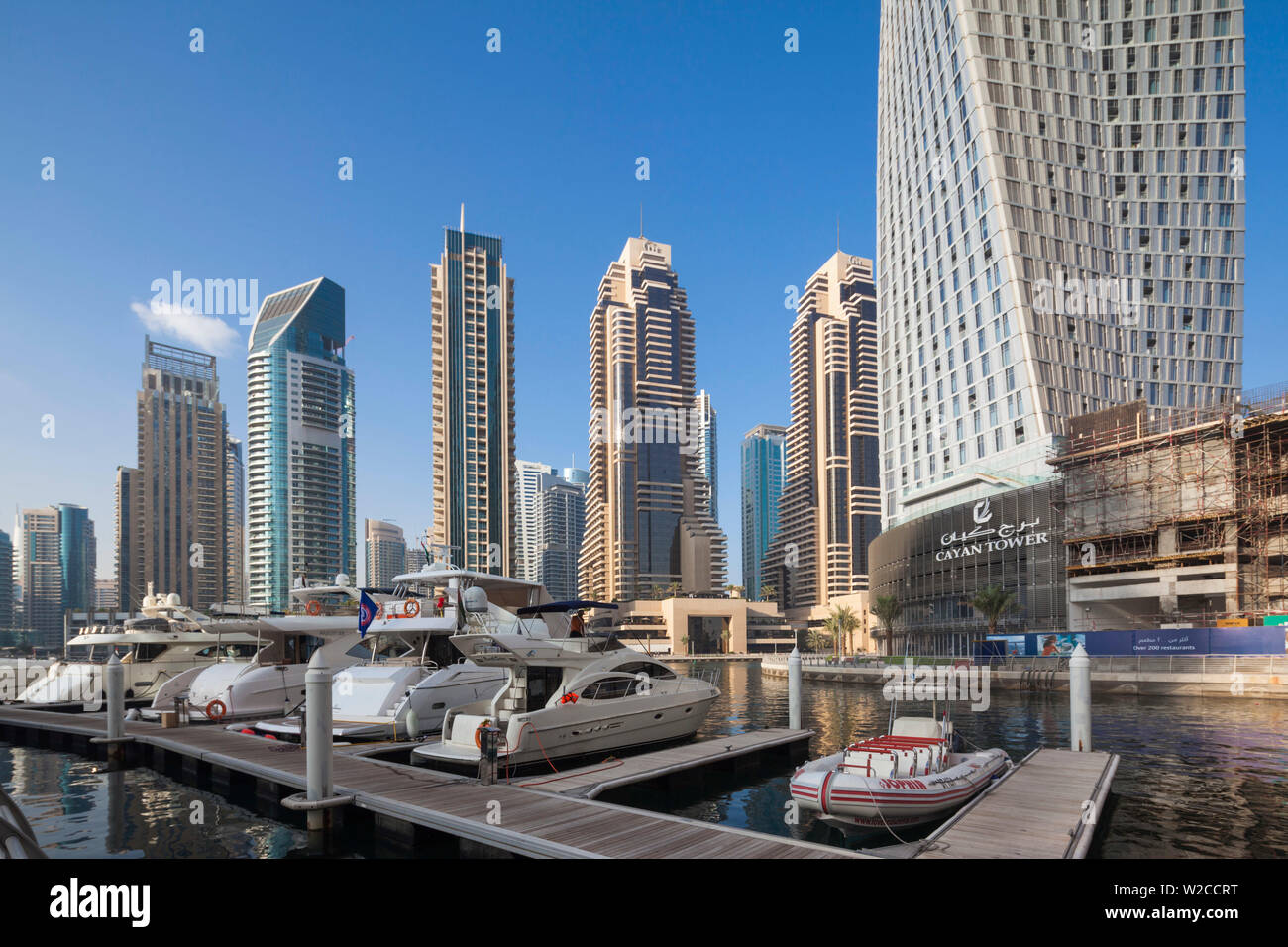 UAE, Dubai, Dubai Marina, high rise buildings including the twisted Cayan Tower, morning - Stock Image
