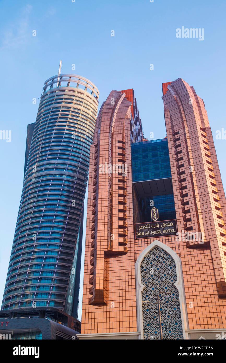 United Arab Emirates, Abu Dhabi, View of Etihad Towers - Stock Image