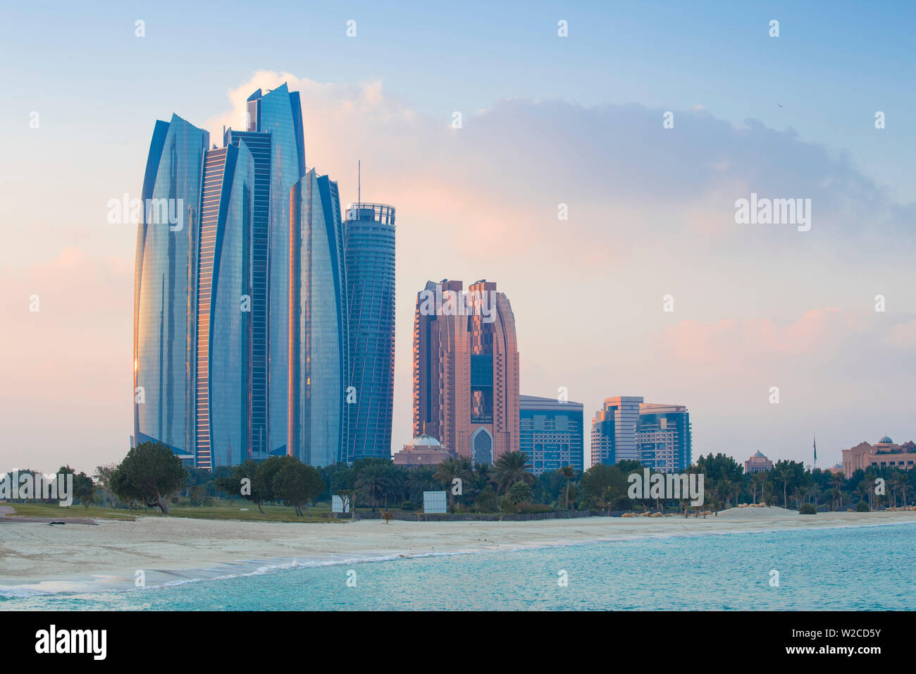 United Arab Emirates, Abu Dhabi, View of Etihad Towers, Grand Hyatt, and Bab Al Aasr Hotels - Stock Image