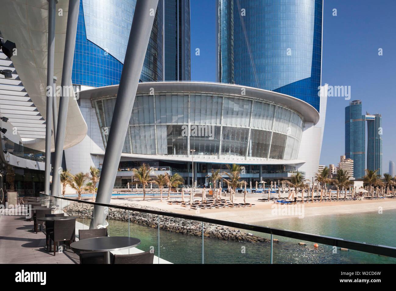 UAE, Abu Dhabi, Jumeirah at Etihad Towers Hotel, beach - Stock Image