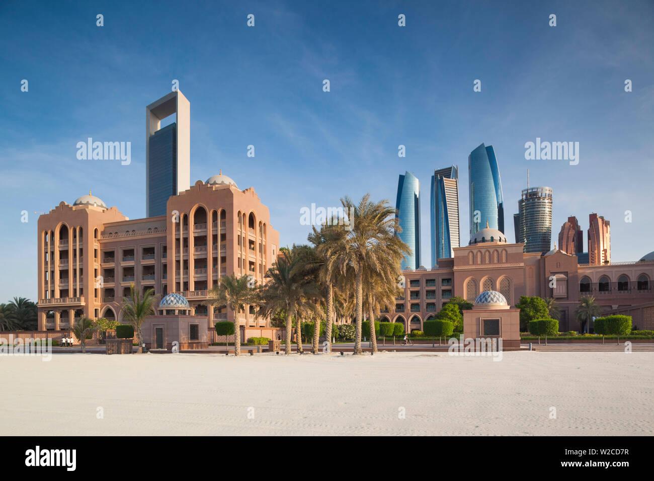 UAE, Abu Dhabi, skyline, ADNOC Tower, Emirates Palace Hotel, and Etihad Towers - Stock Image