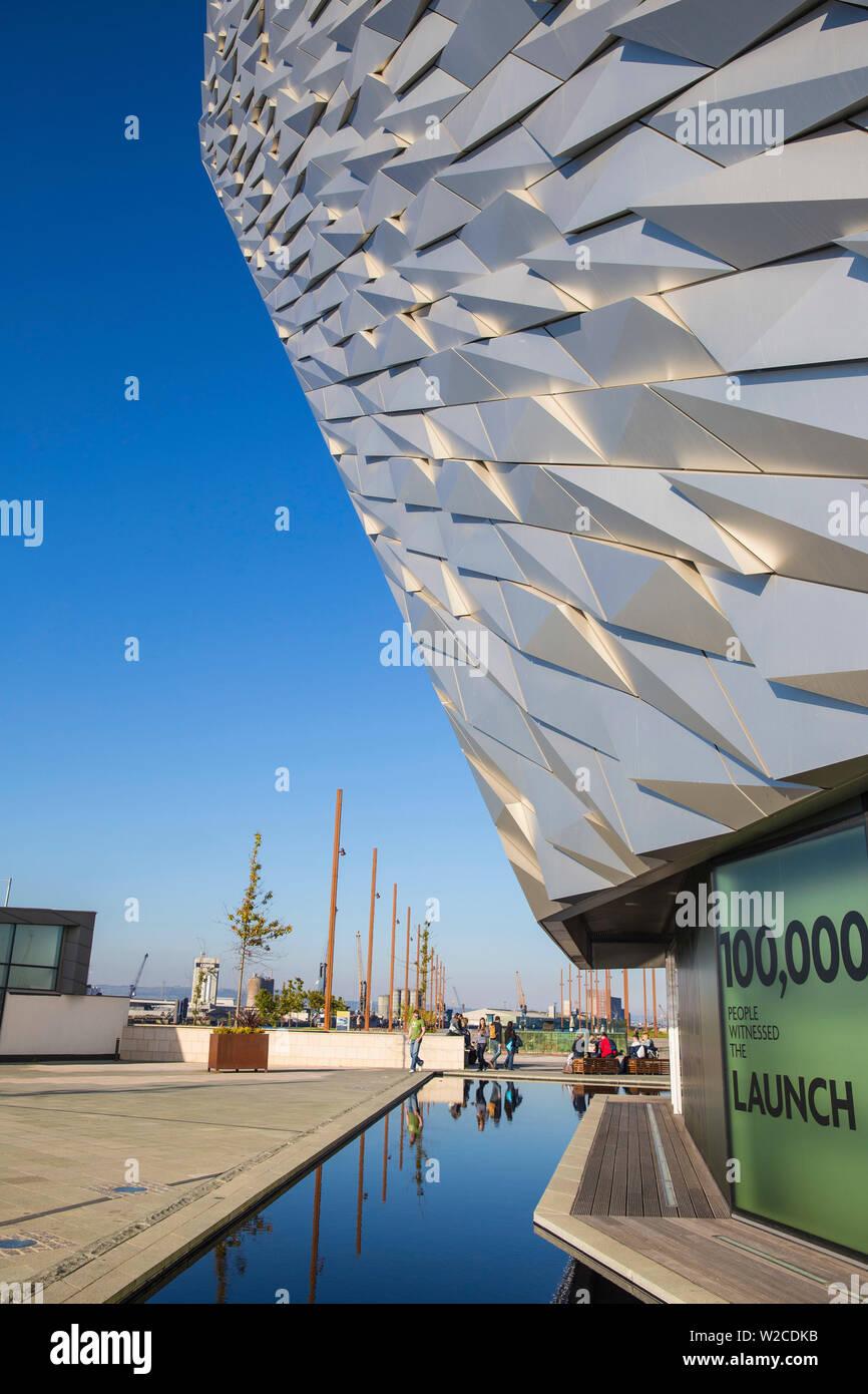 United Kingdom, Northern Ireland, Belfast, View of the Titanic Belfast museum - Stock Image