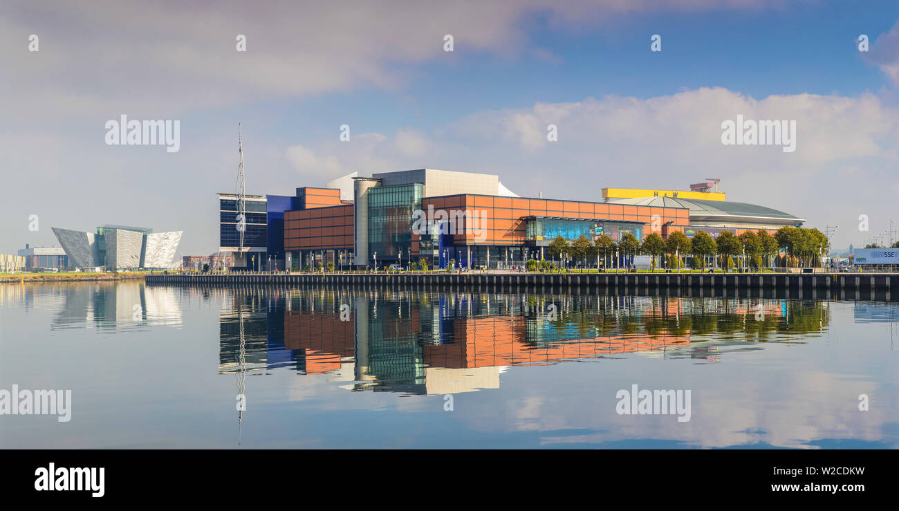 United Kingdom, Northern Ireland, Belfast, View of the Titanic Belfast museum and SSE Arena - Stock Image