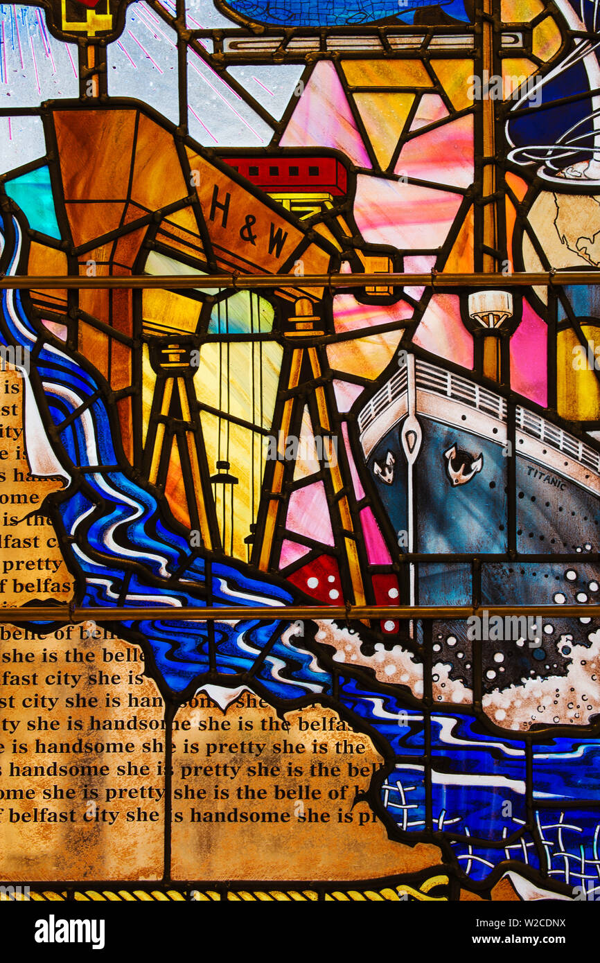 United Kingdom, Northern Ireland, Belfast, City Hall, Stained glass window of Titanic and Harland and Wolff cranes - Stock Image