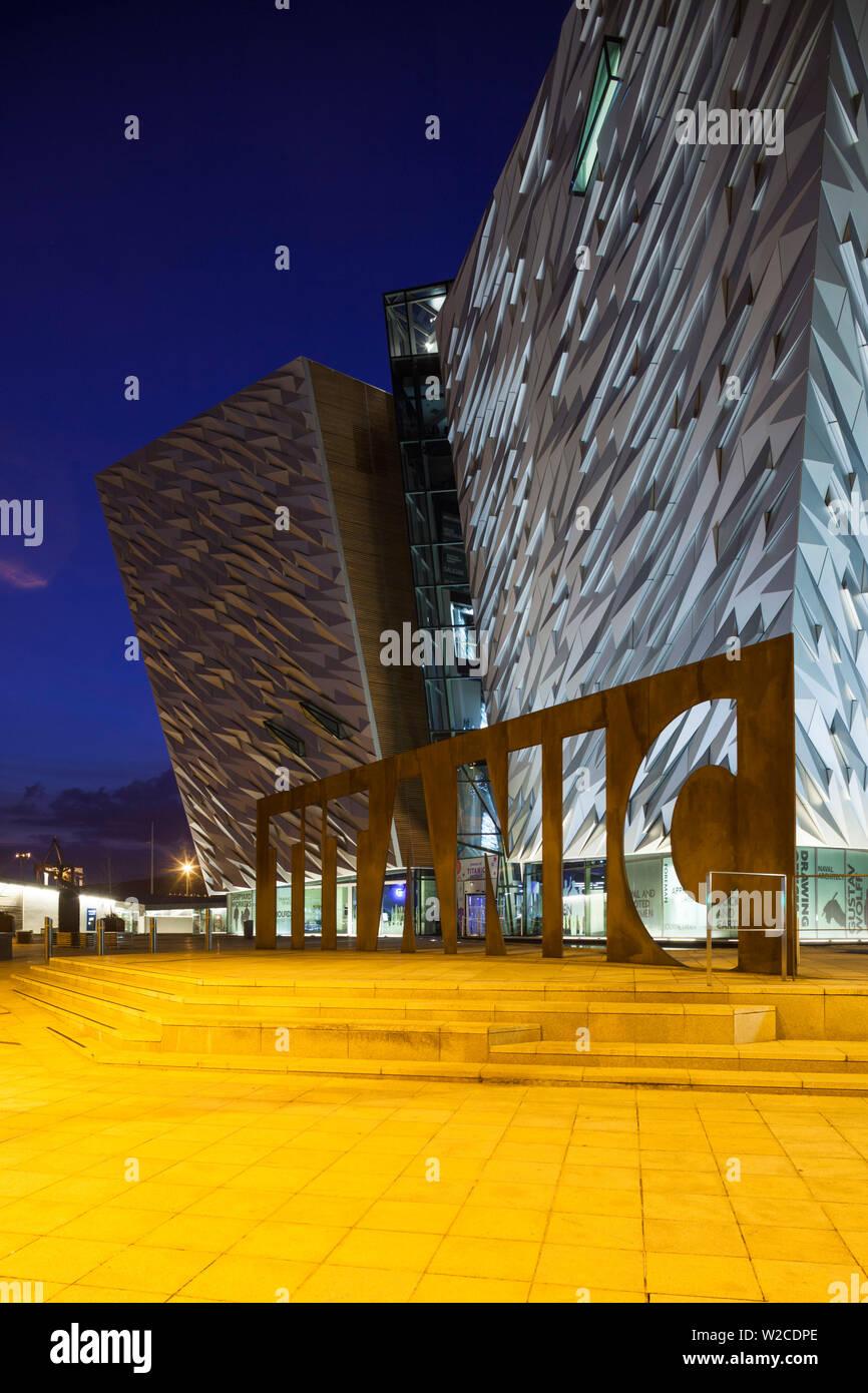 UK, Northern Ireland, Belfast, Belfast Docklands, Titanic Belfast Museum, exterior, dusk - Stock Image
