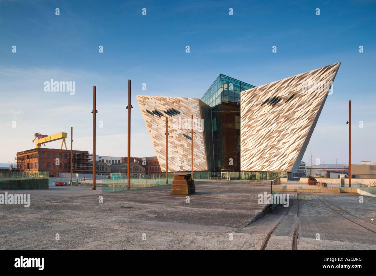 UK, Northern Ireland, Belfast, Belfast Docklands, Titanic Belfast Museum, exterior - Stock Image