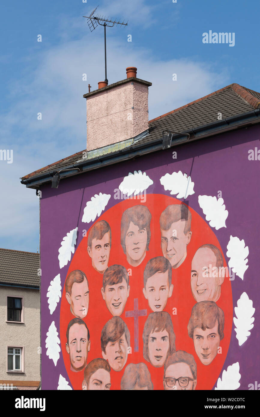 UK, Northern Ireland, County Londonderry, Derry, Bogside area, mural showing victims of the Bloody Sunday events of 1972 - Stock Image