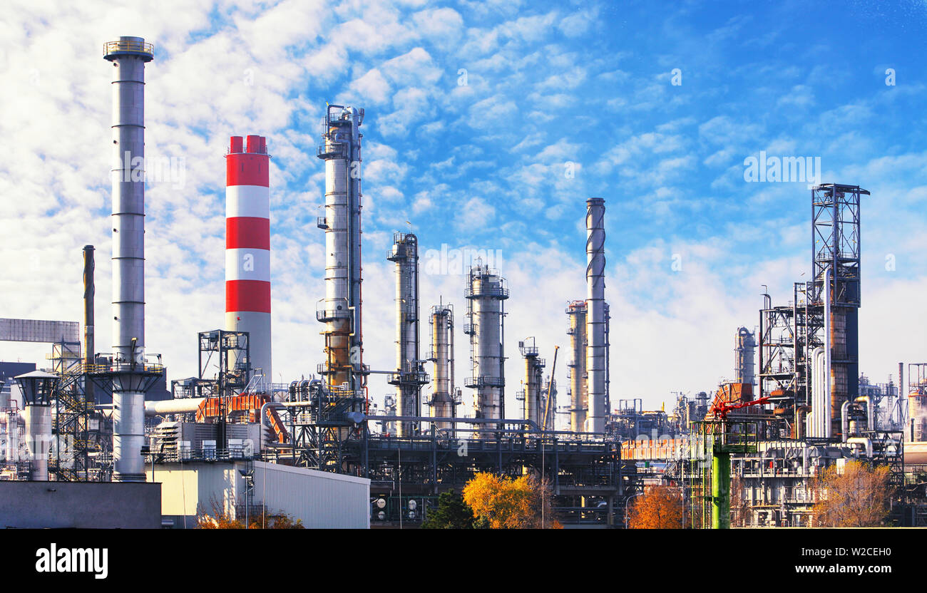 Oil and gas petrochemical plant, Industry factory Stock Photo