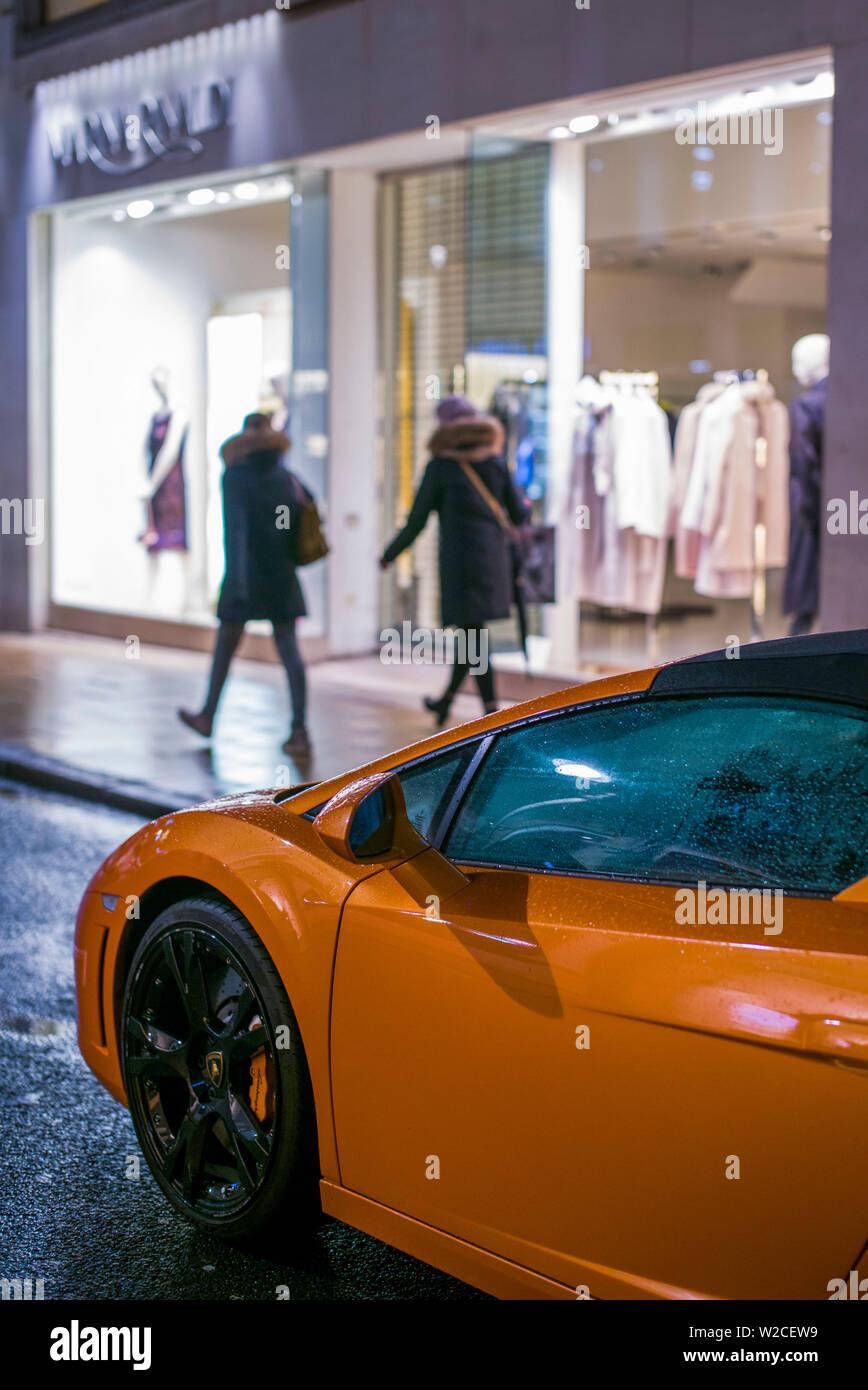 England, London, Mayfair, Lamborghini sports car on street evening - Stock Image