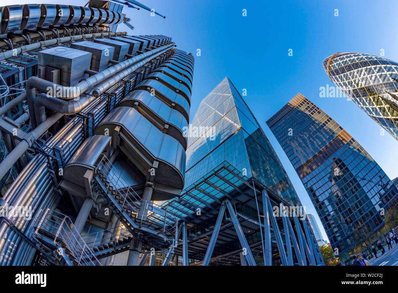 UK, England, London, The City, including The Gherkin (30 St. Mary Axe), Lloyd's Building and The Cheesegrater (122 Leadenhall Street) - Stock Image