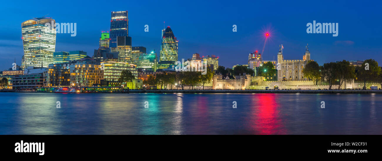 UK, England, London, The City, The Walkie-Talkie (20 Fenchurch Street), Cheesegrater (122 Leadenhall Street) , Gherkin (30 St. Mary Axe) and Tower of London - Stock Image