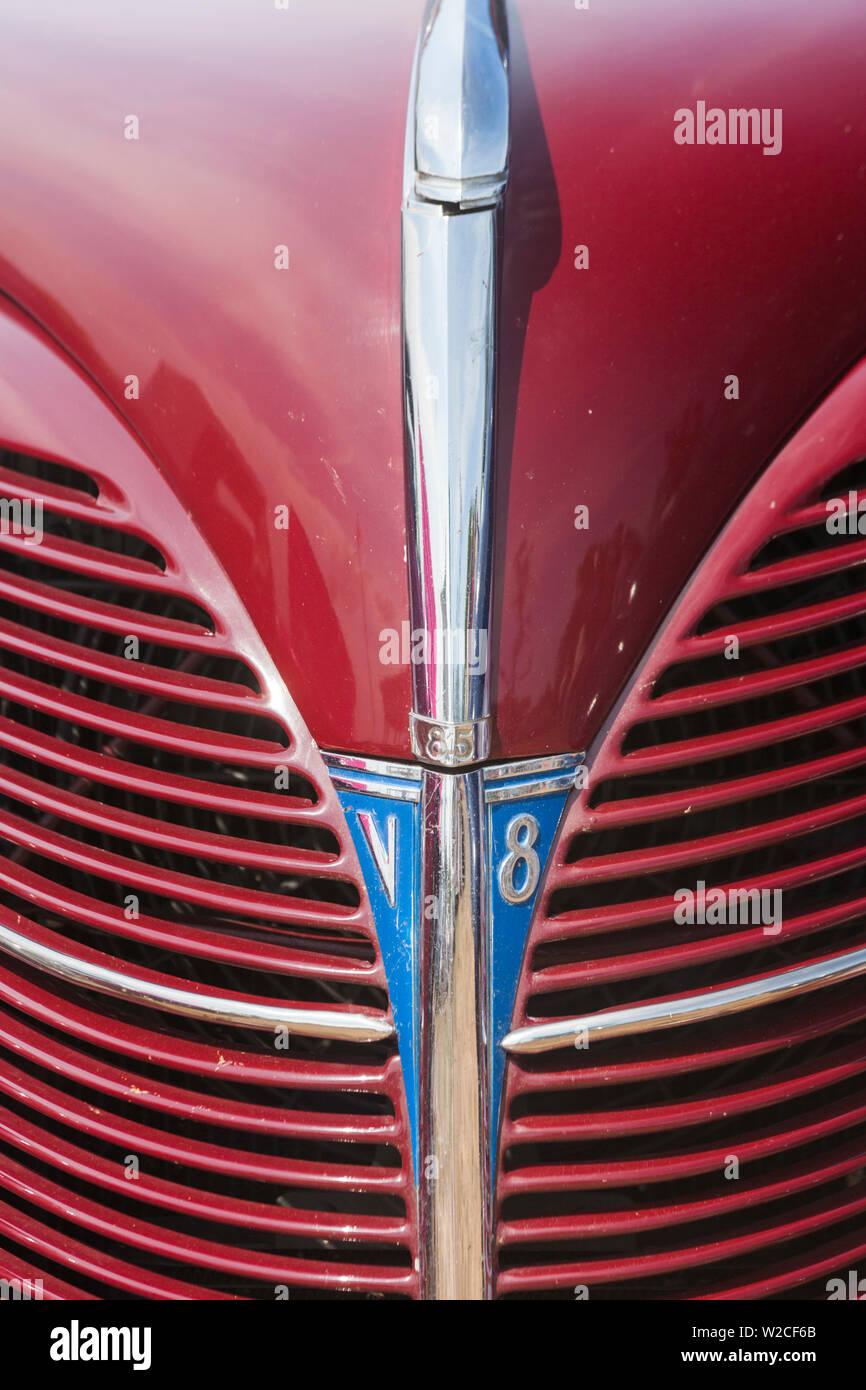 USA, Massachusetts, Gloucester, Antique Car Show, 1940s-era Ford V8 - Stock Image