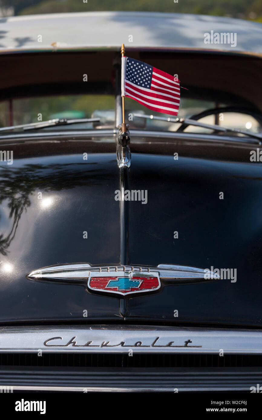 USA, Massachusetts, Gloucester, Antique Car Show, 1953 Chevy - Stock Image
