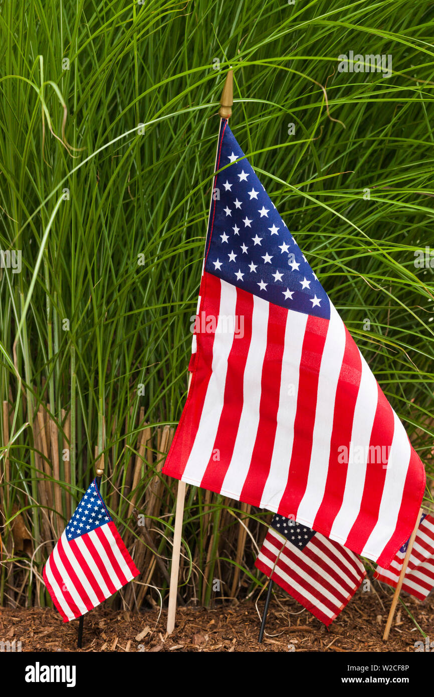 USA, Massachusetts, Cape Ann, Manchester by the Sea, Fourth of July Parade, US flag Stock Photo