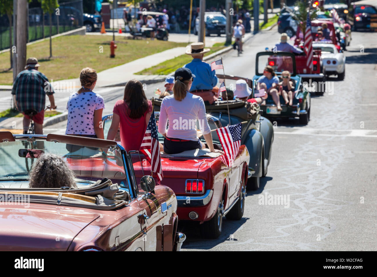 USA, Massachusetts, Manchester By The Sea, Fourth of July, parade of antique cars Stock Photo