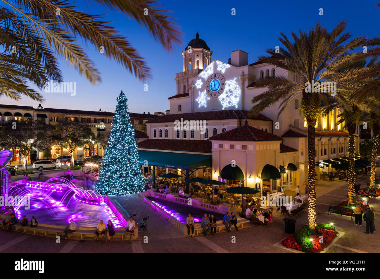 USA, Florida, West Palm Beach, City Place Mall, Harriet Himmel Theater during Christmas Holidays - Stock Image