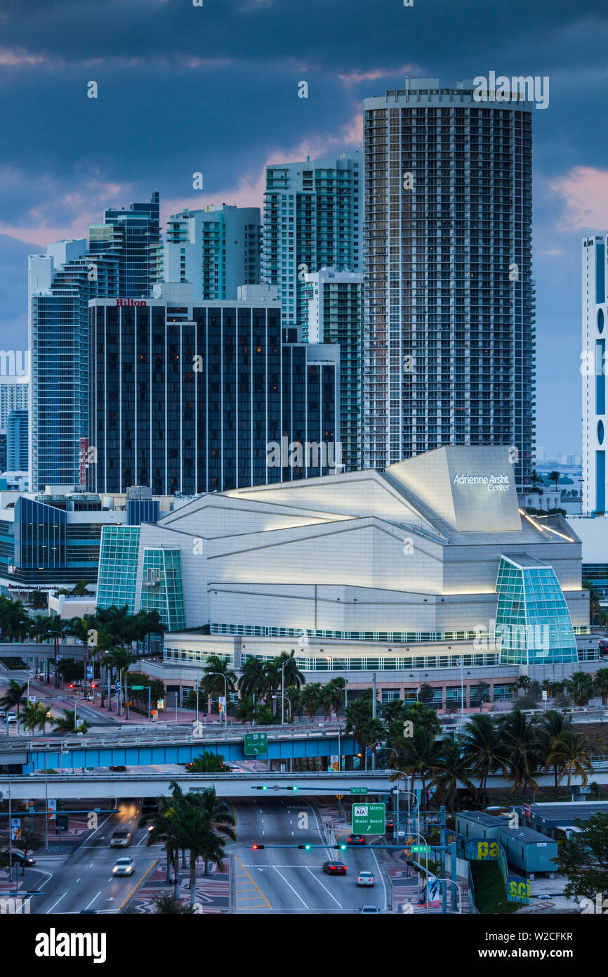 USA, Florida, Miami, Adrienne Arsht Center for the Performing Arts, elevated view - Stock Image