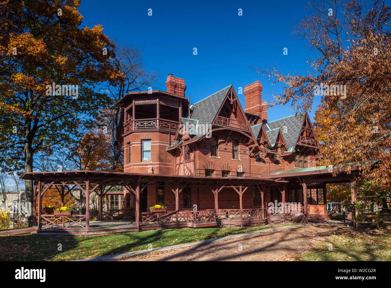 USA, Connecticut, Hartford, Mark Twain House, former home of celebrated American writer Mark Twain, autumn Stock Photo