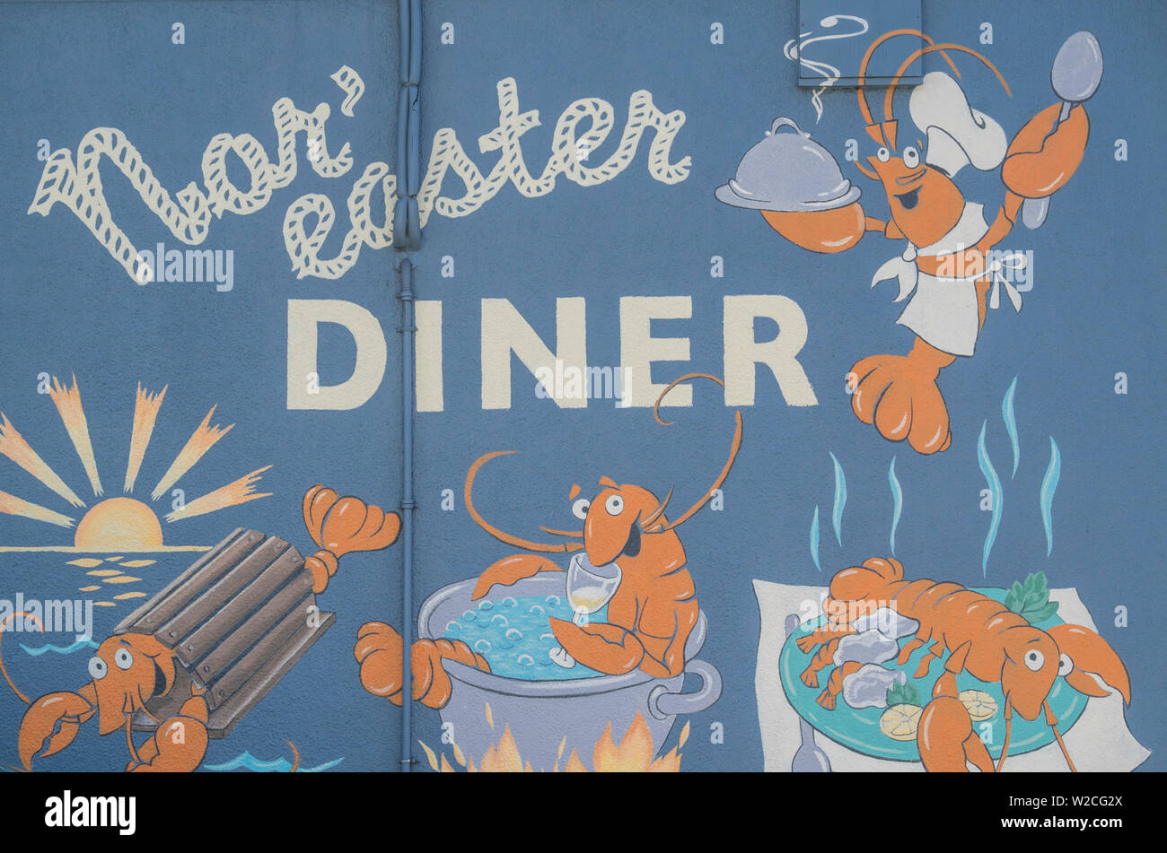 USA, Connecticut, Stonington, sign for the Nor'easter Diner - Stock Image