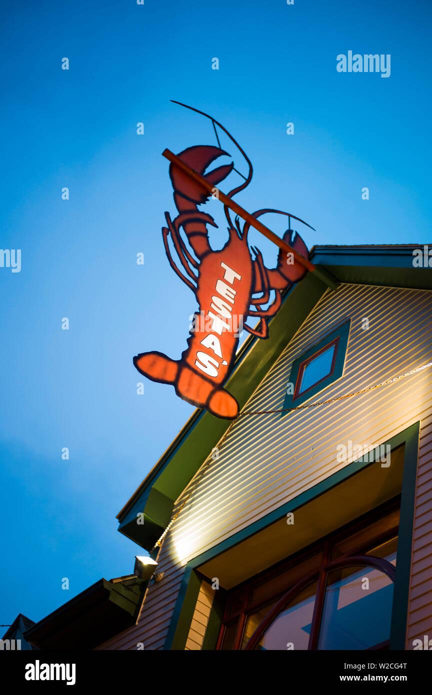 USA, Maine, Mt. Desert Island, Bar Harbor, Main Street, sign for Testa's Restaurant - Stock Image