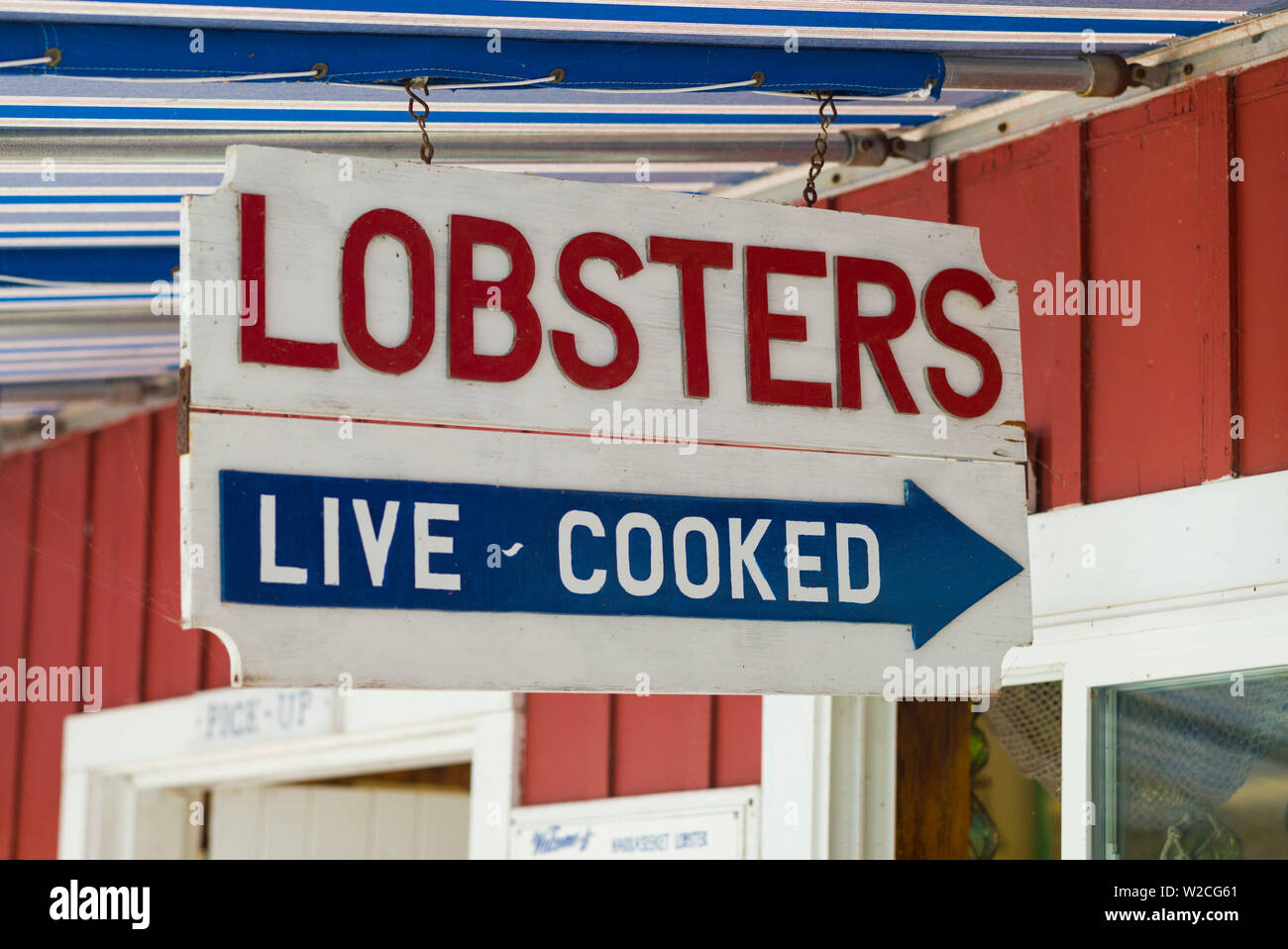 USA, Maine, Freeport, lobster pound sign - Stock Image