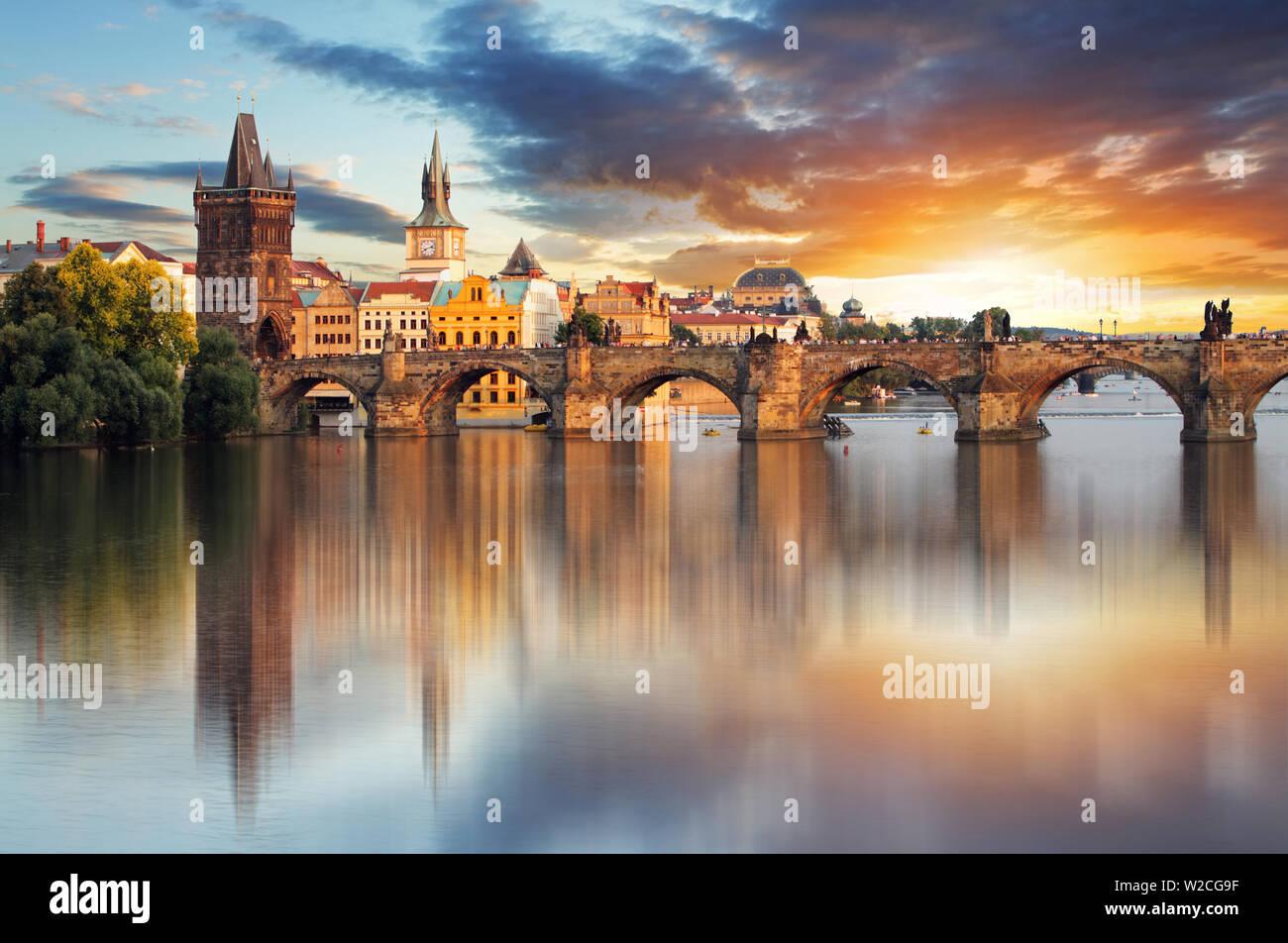 Prague - Charles bridge, Czech Republic - Stock Image