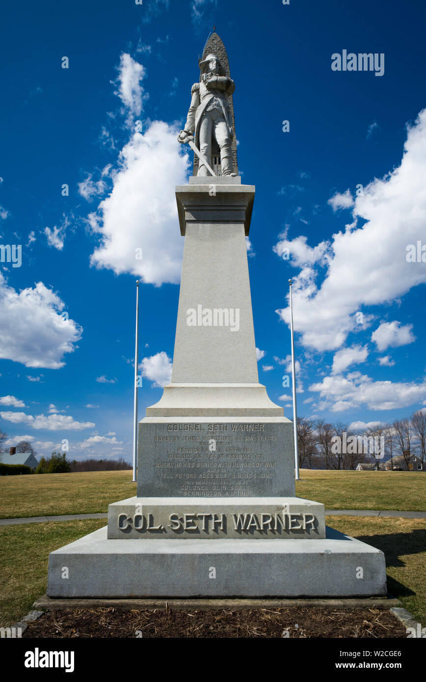 USA, Bennington, Bennington Battle Monument, commemorates American Revolutionary battle of August 16 1777, statue of Colonel Seth Warner - Stock Image