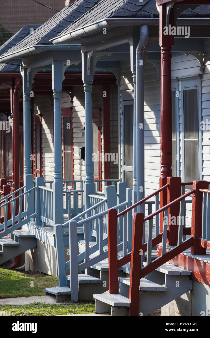 USA, Georgia, Atlanta, Martin Luther King National Historic Site, front porches of black-owned homes in primarily African-American neighborhood of Sweet Auburn - Stock Image