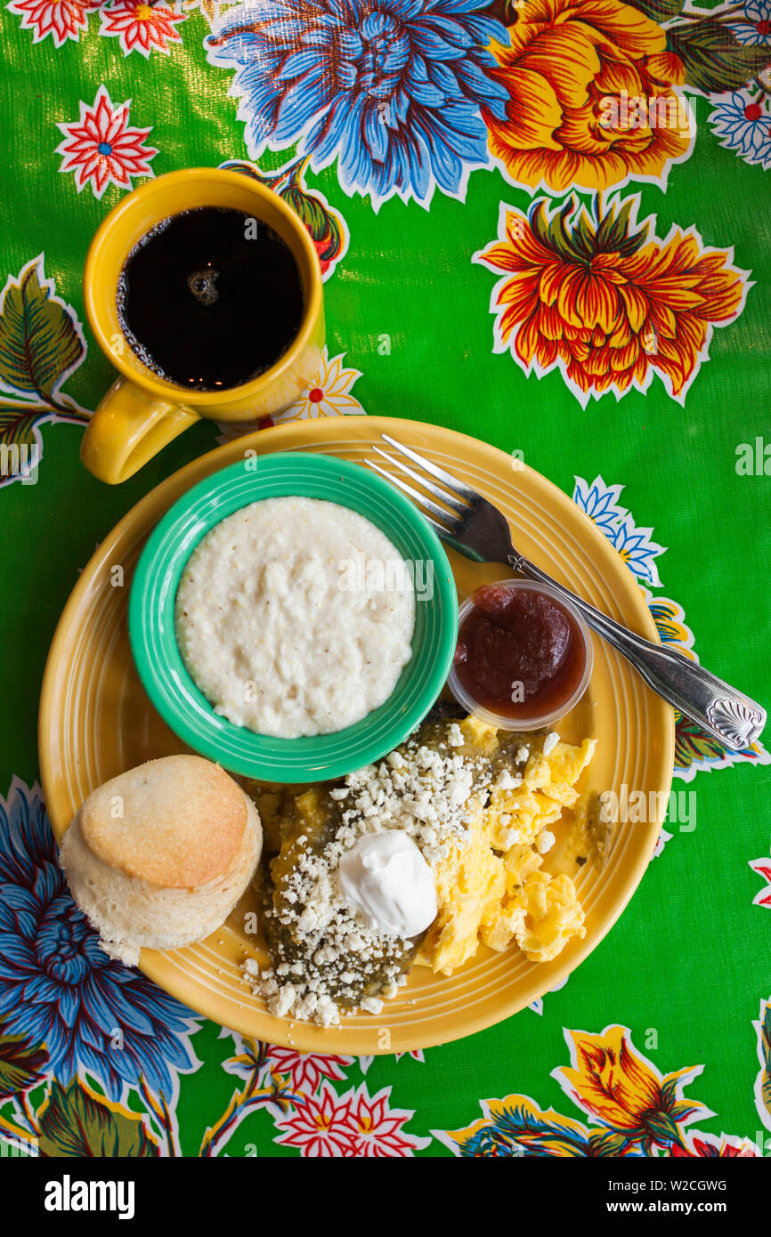USA, Georgia, Atlanta, grits, biscuits and eggs, breakfast and the Flying Biscuit cafe - Stock Image