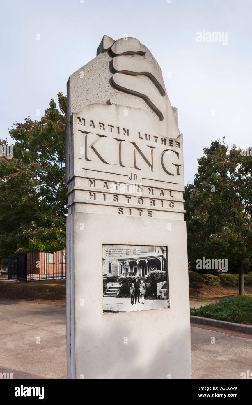 USA, Georgia, Atlanta, Martin Luther King National Historic Site, signpost - Stock Image
