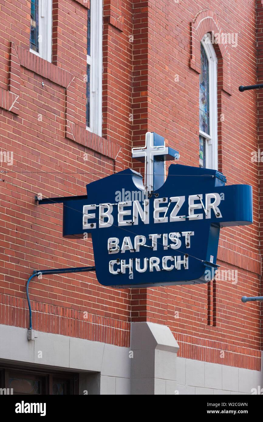 USA, Georgia, Atlanta, Martin Luther King National Historic Site, Ebenezer Baptist Church, where Rev. Martin Luther King was preacher - Stock Image